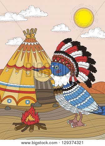 Indian Bird Adult Coloring Page