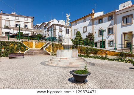 Castelo de Vide, Portugal - July 23, 2015: Montorinho Fountain in Martires da Republica Square, Castelo de Vide, Portugal. 19th century fountain.