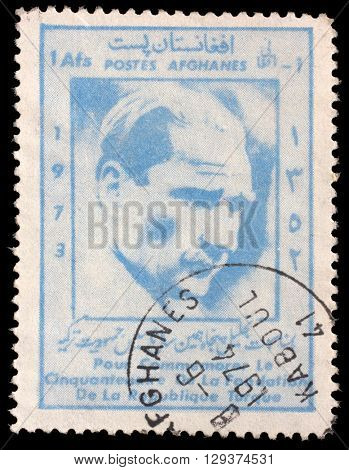 ZAGREB, CROATIA - SEPTEMBER 18: a stamp printed in the Afghanistan shows Mustafa Kemal Ataturk, 1881-1938, 50th Anniversary of the Turkish Republic, circa 1973, on September 18, 2014, Zagreb, Croatia