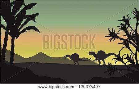 spinosaurus at morning scenery a very beautiful
