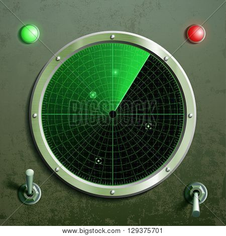Military green radar. Screen with the target and toggle switches. Stock vector illustration.