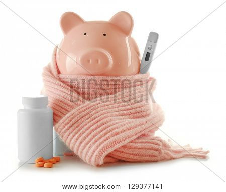 Decorative pig with scarf and pills, isolated on white. Swine Flu concept