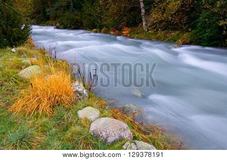 Aguas Limpias river in Sallent de Gallego, Tena Valley, Pyrenees, Huesca, Aragon, Spain.