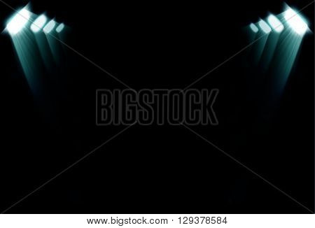 Blue spotlights on a dark background, abstract