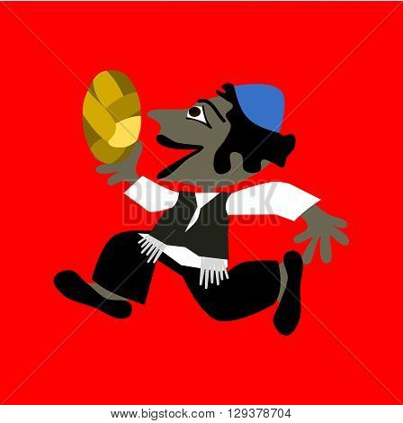 Little black-haired boy in blue yarmulke running and holding a braided bun or bread. Simple flat stylized illustration isolated on red background.