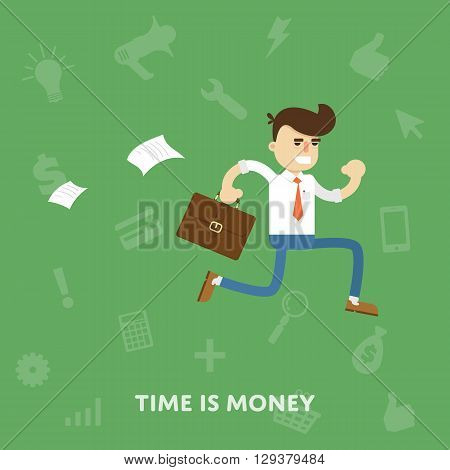 Time is money business concept flat abstract isolated vector illustration