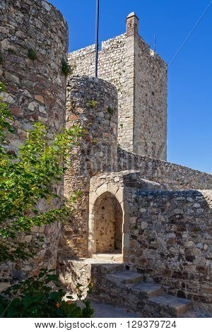 Entrance of the cistern or water tank and a watchtower of the Marvao Castle, Portalegre District, Alto Alentejo Region, Portugal. Marvao was a candidate to World Heritage Site by UNESCO.