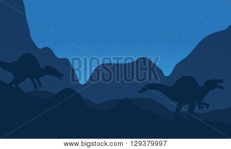 Landscape spinosaurus at the night with blue backgrounds