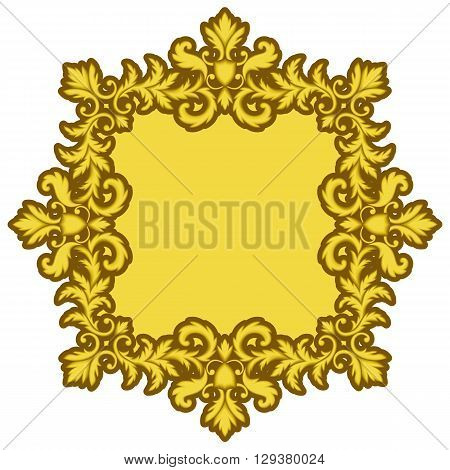 Decorative Gold Frame isolated on white background. Part of seamless pattern. Decorative element. Ornamental Frame. Baroque Frame. Tile element