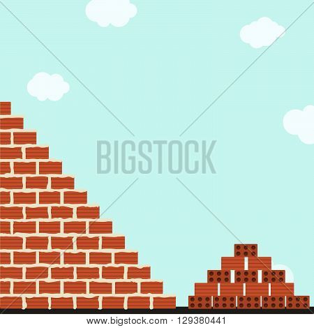 Brick wall being cemented. Stack of clay bricks next to wall. Blue sky in the background.