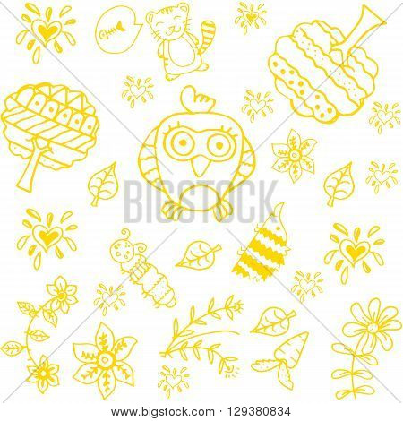 Doodle art for kids yellow with white backgrounds