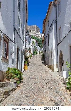 Castle seen form the Medieval Jewish Quarter / Ghetto (Judiaria) in Castelo de Vide,  Alto Alentejo, Portugal.