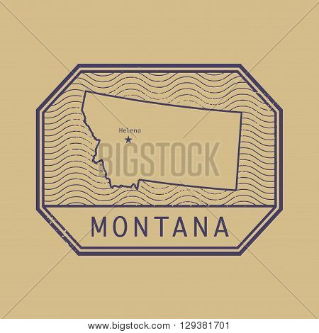 Stamp with the name and map of Montana, United States, vector illustration