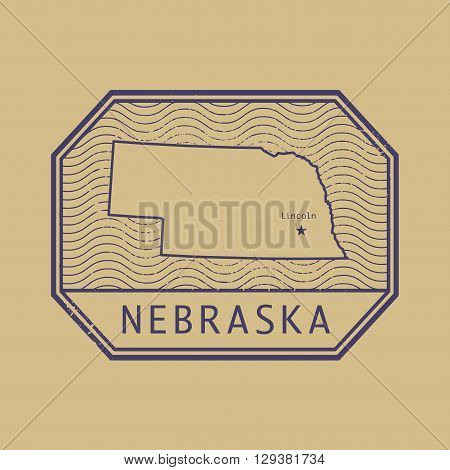 Stamp with the name and map of Nebraska, United States, vector illustration