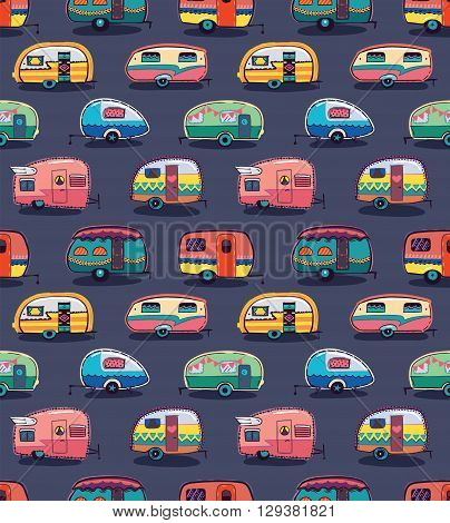 Cute little vintage travel trailers in color on a grey background. Vector seamless pattern