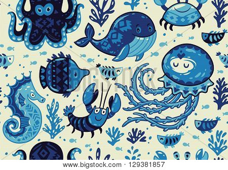 Sea seamless pattern with whale and jellyfish, fish and crab, seahorse and octopus on light beige background. A colourful and playful print and pattern displaying a variety a sea creatures.