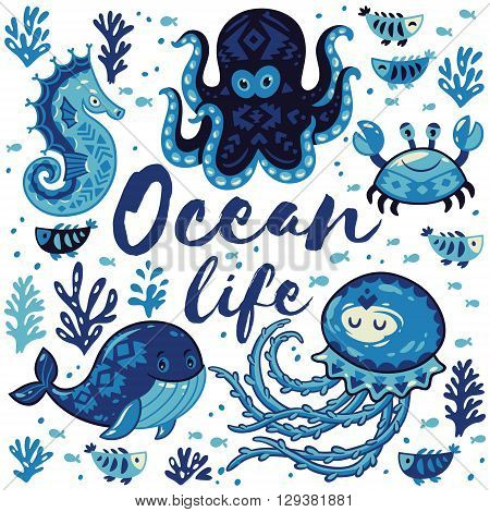Ocean life. Sea card with whale and jellyfish, fish and crab, seahorse and octopus. Awesome background in white and blue colors. Nautical vector card. Lovely childish card in stylish colors