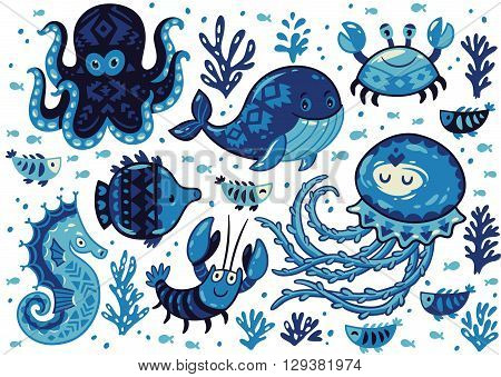 Sea poster with whale and jellyfish, fish and crab, seahorse and octopus on white background. Unique marine design. Unique t-shirt or bag design, house warming poster, greeting card illustration.