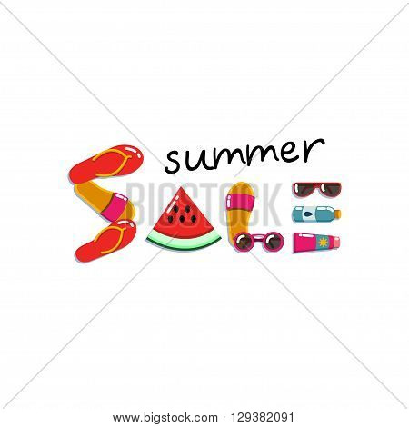 Summer sale, flat lay banner. Layout for seasonal clearance. It can be used in advertising, web design, graphic design. Vector illustration.