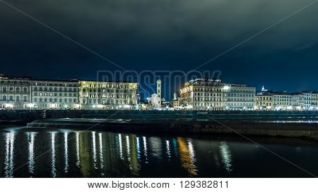 Italy Florence from the Arno River at night
