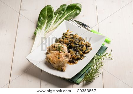 chicken legs with swiss chard