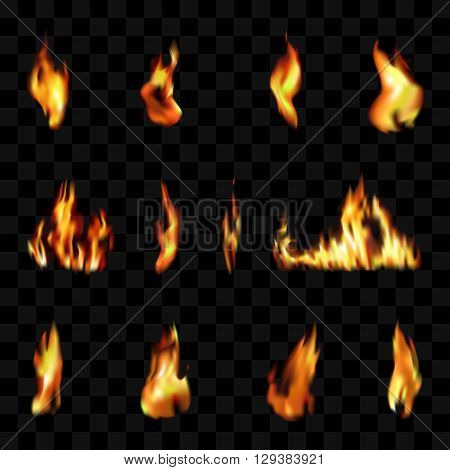 Vector illustration of transparent fire elements. Candle Fire elements. Fireplace elements. Fire Grill elements