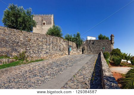 Image of the street that leads to the Castelo de Vide castle entrance. Alto Alentejo, Portugal.