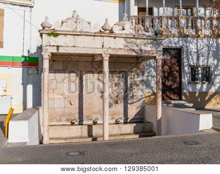 Fontinha, the 16th century renaissance fountain in Republica Square of Alter do Chao. Portugal.
