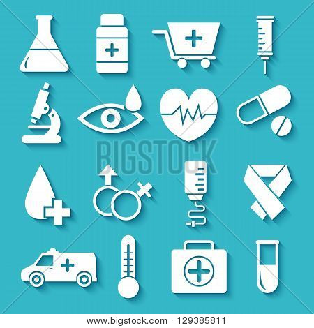 Flat Medical Equipment Set In Shape Heart Icons Concept Backgrou