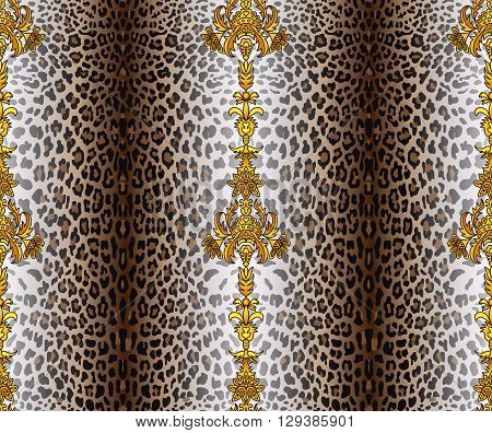 Vector illustration of seamless pattern with leopard skin and baroque elements. Leopard background. Panther seamless pattern. Animal seamless pattern. Fashion textile print. Animal wallpaper.