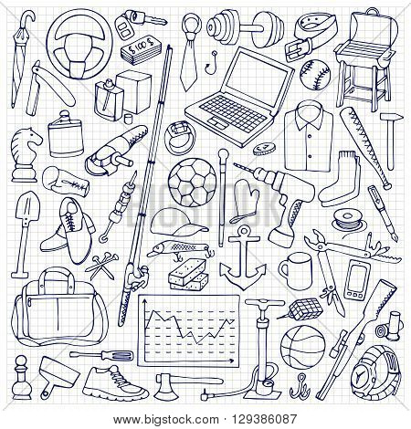Vector illustration of mans hobby, tools and objects on squared paper