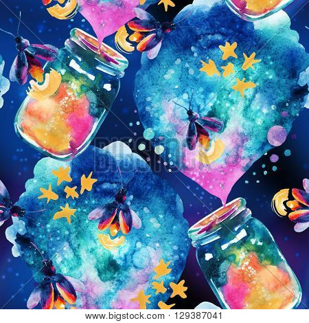 Abstract fairy tale background with magic bottle and firefly. Watercolor magic firefly and lantern for childish design. Hand painted illustration