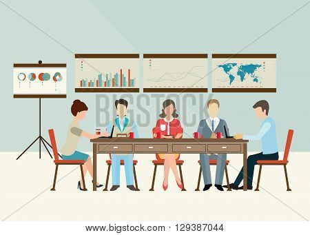 Business meeting office life teamwork or brainstorming in flat style conceptual vector illustration.