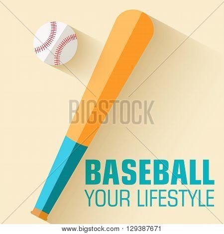 Flat Sport Icon Baseball Background Concept. Vector Illustration