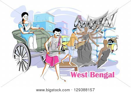 easy to edit vector illustration of people and culture of West Bengal, India