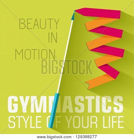 Flat Sport Gymnastics Background Concept. Vector Illustration De
