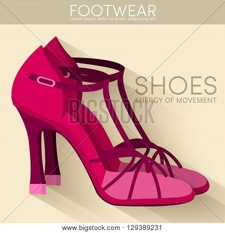 Flat Styling Wooman Shoes Bakground Concept. Vector Illustranion