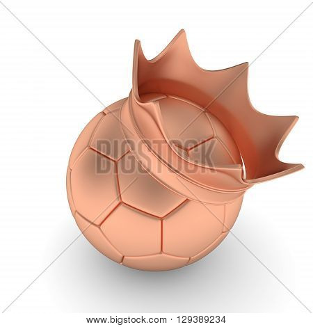 Bronze soccer ball with bronze crown on white background. 3D rendering.