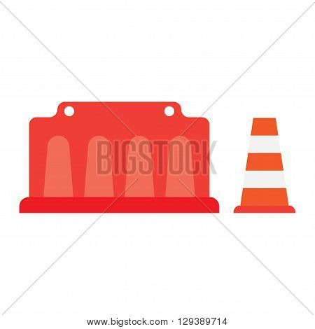 road barrier road cone vector illustration with white lines