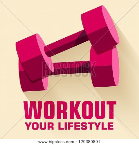 Flat Sport Workout Icon Background Concept. Vector Illustration