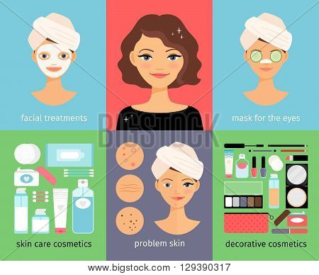 Woman facial treatments. Woman face cleaning vector chart