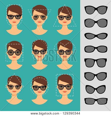 Womens Sunglasses Shapes for different face shapes vector illustration
