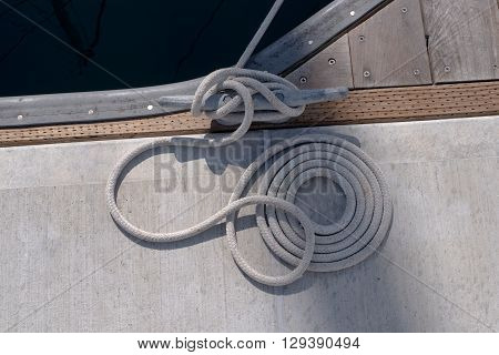 Close up of a mooring rope on a dock.