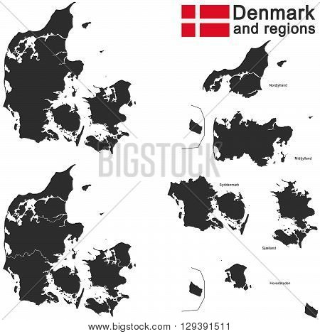 isolated european country Denmark and detailed regions