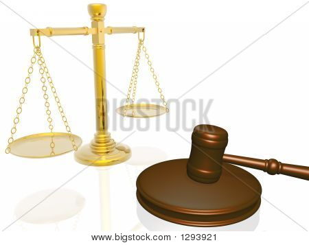 Wooden Gavel And Scales From The Court