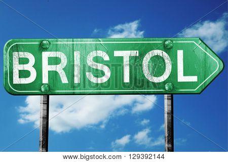 Bristol, 3D rendering, a vintage green direction sign