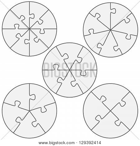 five round puzzle templates with different number of pieces