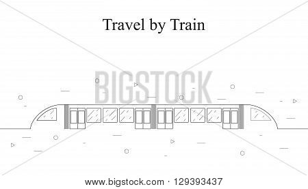Modern fast train. Linear style. A passenger train. A moving subway train (underground). Travel and tourism. Icon isolated on white background. Vector illustration.
