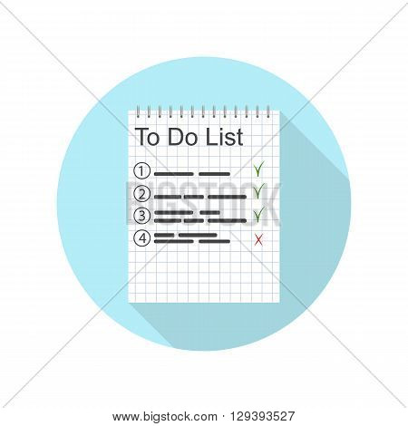 To-do list for the day. A work plan. Important Entries in the notebook. Done. Icon design for time-management. The planning task. Vector illustration.