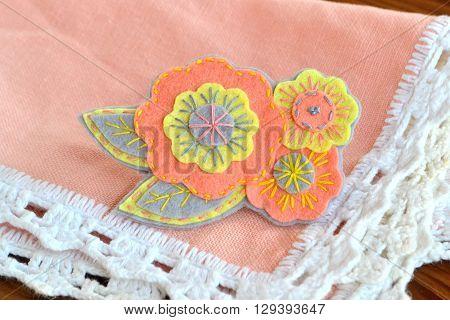 A beautiful felt brooch flowers. Beautiful women's accessory